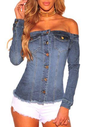Off the Shoulder Long Sleeve Single Breasted Denim Tops