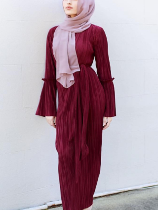 Long Sleeve Muslim Robe Dress Belted Maxi Pleated Dresses