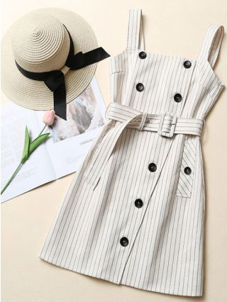 Straps Double Breasted Striped Belted Short Overall Dress