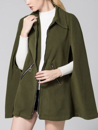 Army Green Lapel Cape-Style Zipper Short Trench Coat