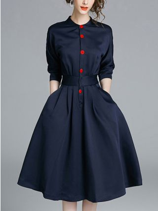 Spring and Fall Single Breasted OL Shirt Dress Midi Swing Dresses