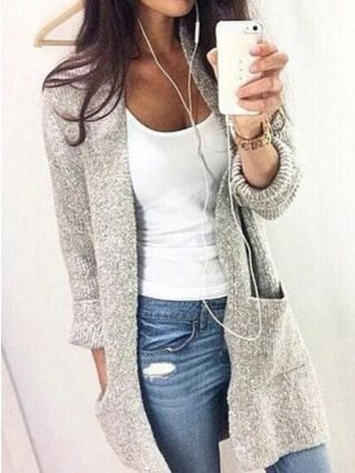 Plus Size Fall Winter Long Sleeve Pockets Knitted Mid-length Cardigans