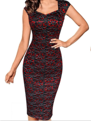 Small Sleeve Square Neck Gold Line Lace Bodycon Knee Length Dress