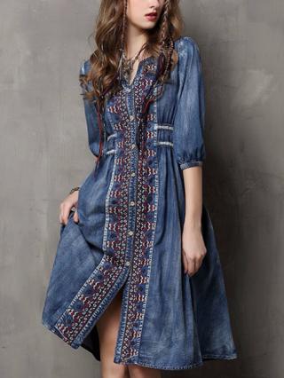 Vintage Half-sleeve V-Neck Embroidery Single Breasted Denim Dress