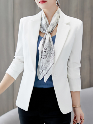 Women Fall Long Sleeve One Button Solid Color Blazer