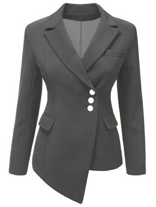 Winter Women Long Sleeve Single Breasted Irregular Suit