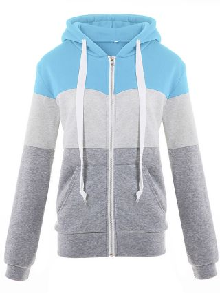 Women Fall and Winter Coat Three Color Stitching Hoodies