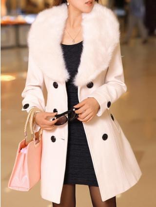 Plus Size Medium Long Coat Big Fur Collar Double Breasted Wool Overcoat
