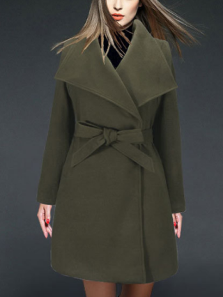 Fall and Winter New Woolen Coat Lapel Bowknot Belted Overcoat