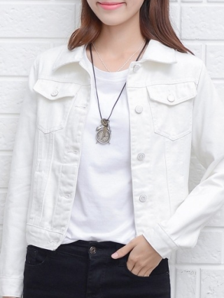 Spring and Fall Lapel Buttons Short Denim Coat Long Sleeve Jacket