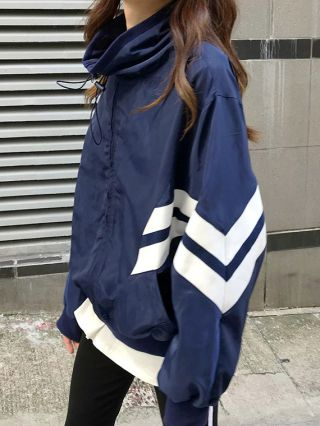 New Chic Zipper Stitching Color Casual Sports Jacket