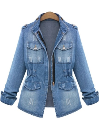 Plus Size Standing Collar Button Zipper Denim Coat
