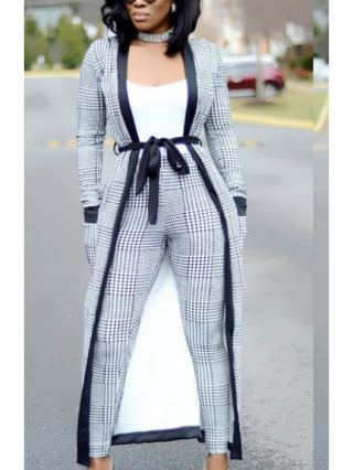 Spring and Fall Classic Houndstooth Three Pieces Vest+Coat+Trousers