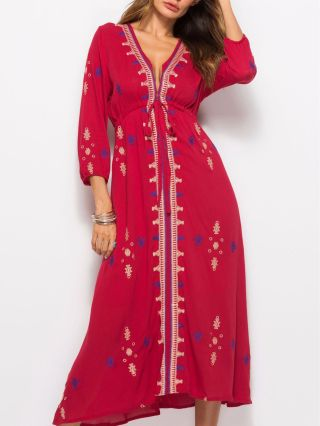 Vintage Thai National Style Embroidery V-Neck Holiday Long Dress