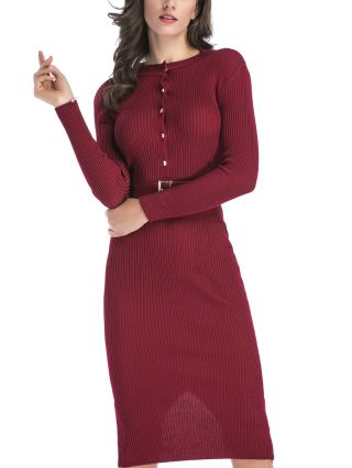 Single Breasted Long Sleeve Round Neck Knitted Belted Bodycon Long Dress