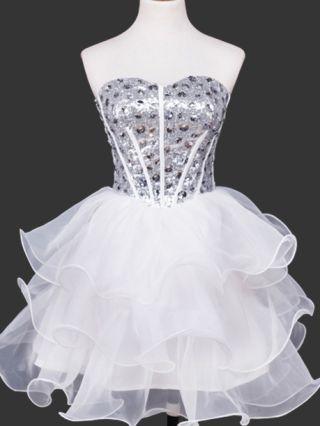 Diamond Short Homecoming Dress Back Lace-up Tutu Evening Prom Dresses