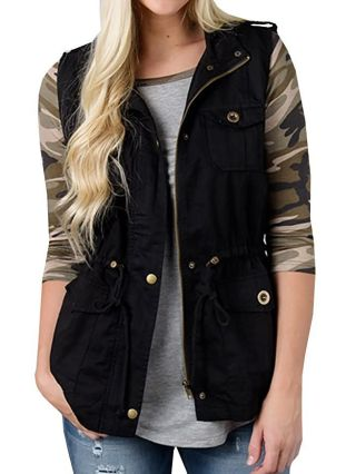 Sleeveless Standing Collar Button Pocket Casual Vest Coat