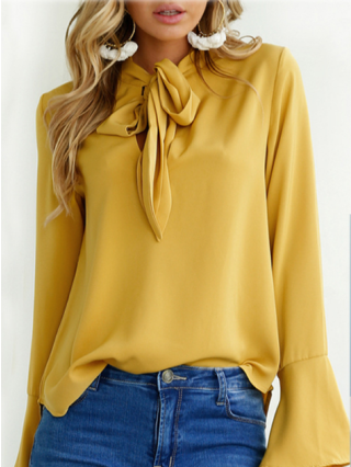 Fashion Bell Long Sleeve Bow Tie Neck T-shirt