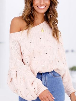 Off the Shoulder Long Sleeve Loose Casual Knitted Sweater