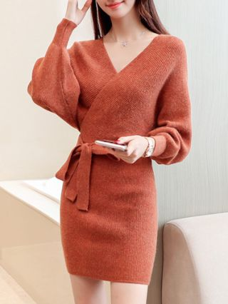 Fall Sexy V-Neck Backless Long Sleeve Belted Sweater Dress