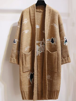 Fashion Long Sleeve Embroidery Loose Medium Long Knitted Cardigan