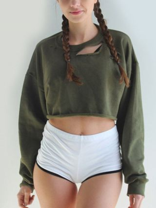 Spring and Fall Long Sleeve Round Neck Ripped Cropped Sweatshirt