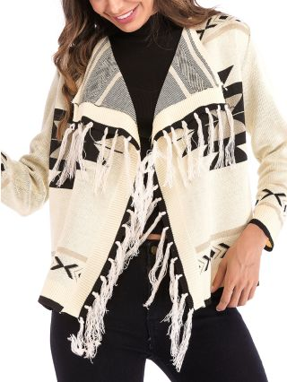 Fashion Tassel Printed Lapel Long Sleeve Knitted Cape Sweater Coat