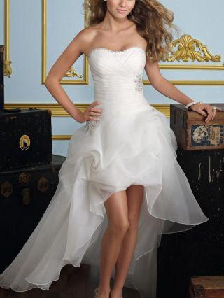 White Tube Top High-low Wedding Dress Gauze Diamond Evening Prom Dresses