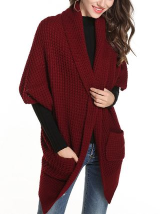 Fall and Winter Half-sleeve Pockets Knitted Sweater Cardigan