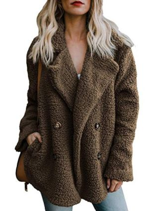 Fall and Winter Lapel Double Breasted Long Sleeve Fleece Warm Coat