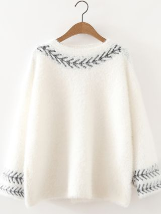 Loose Round Neck Embroidery Long Sleeve Knitted Sweater