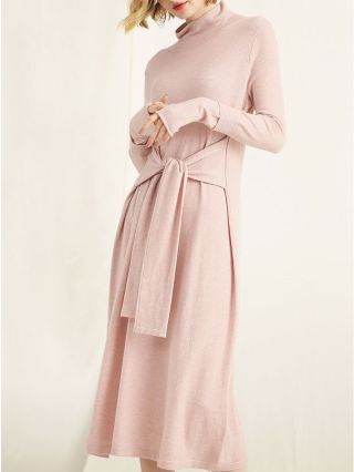 Half High Neck Long Sleeve Belted Loose Wool Knitted Sweater Dress