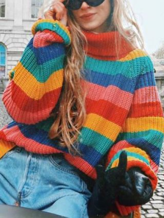 Colorful Striped High Neck Long Sleeve Knitted Loose Sweater