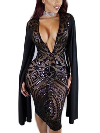 Fake Long Sleeve Shawl Sexy Deep V-Neck Sequins Bodycon Dress