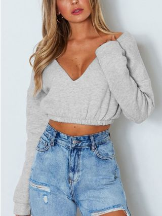 Sexy Deep V-Neck Off the Shoulder Long Sleeve Cropped Sweatshirt