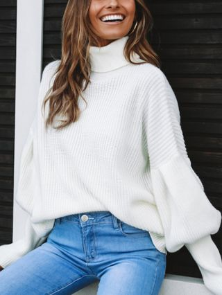 Lantern Sleeve High Neck Loose Knitted Sweater