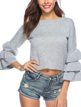 Fashion Cake Sleeve Round Neck Cropped Knitted Sweater