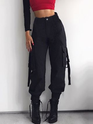 Women New Pockets Buckle Casual Trousers Hip Hop Cargo Pants