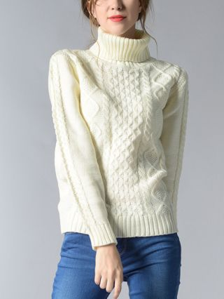 Women High Neck Knitted Long Sleeve Cable Stitch Sweater