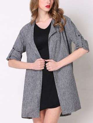 Spring and Fall Casual Plus Size Long Sleeve Lapel Long Coat