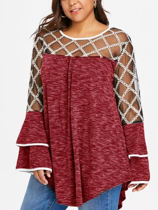 Plus Size Lace Gauze Stitching See-through Bell Sleeve Knitted Tops