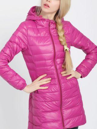 Plus Size Women Lightweight Down Jacket Medium Long Hooded Coat