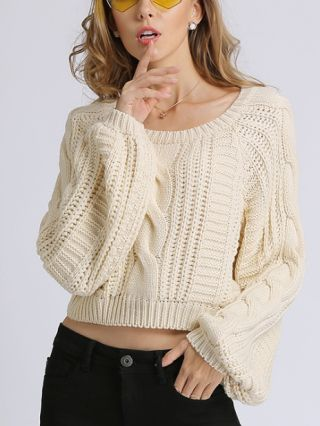 Long Sleeve Round Neck Cable Stitch Knitted Cropped Sweater