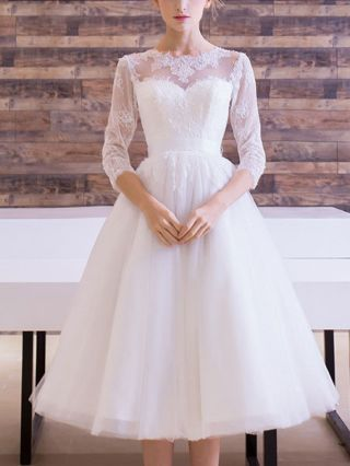 White Lace Tulle Wedding Dress Bowknot Bridesmaid Dresses