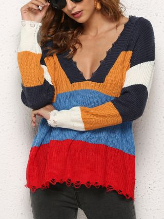Colorful Striped V-Neck Long Sleeve Ripped Knitted Sweater