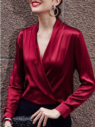 V-Neck Criss-Cross Satin Long Sleeve Women Blouse