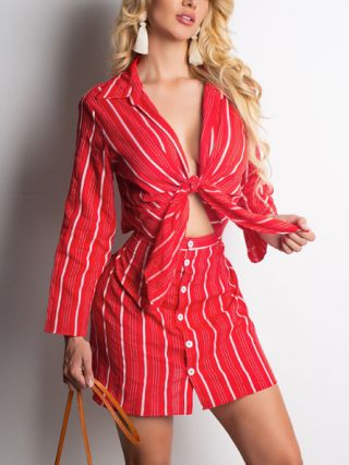 Striped Long Sleeve Lapel Bowknot Suit Coat Single Breasted Skirt Two Piece Dress