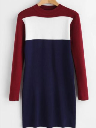 Three-color Stitching Breastfeeding Long Sleeve Knitted Midi Sweater Dress