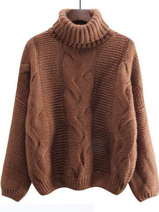 Korean Women High Neck Long Sleeve Loose Cable Knit Sweater