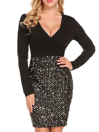 Long Sleeve Sequined Stitching V-Neck Bodycon Party Club Dress
